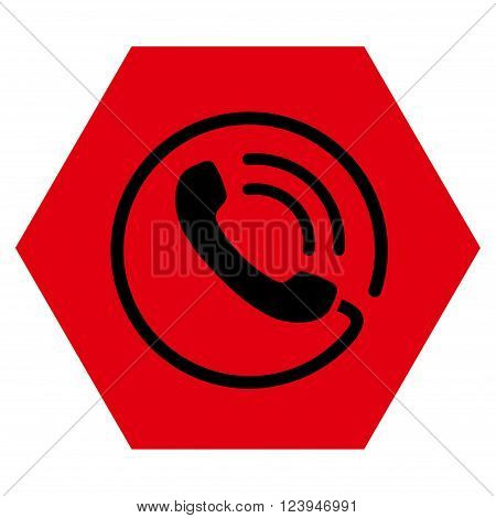 Phone Call vector icon symbol. Image style is bicolor flat phone call icon symbol drawn on a hexagon with intensive red and black colors.