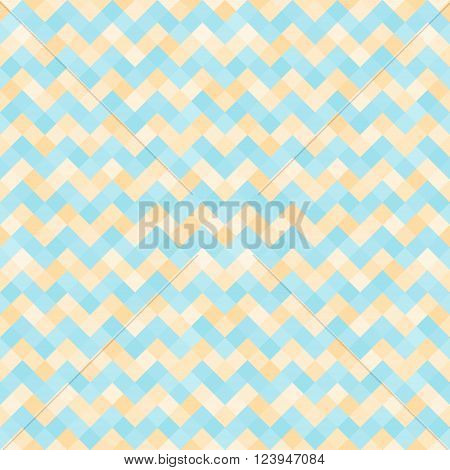 Seamless abstract pattern with turquoise and yellow geometric mosaic zigzag. Vector illustration