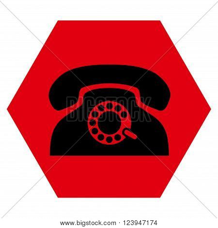 Pulse Phone vector icon. Image style is bicolor flat pulse phone icon symbol drawn on a hexagon with intensive red and black colors.