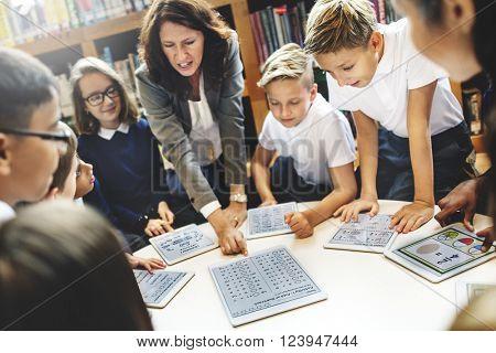 School Teacher Teaching Students Learning Concept