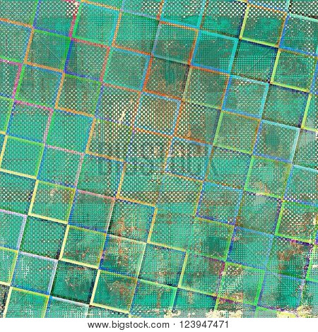 Geometric ancient texture or damaged old style background with vintage grungy design elements and different color patterns: brown; green; blue; red (orange); pink