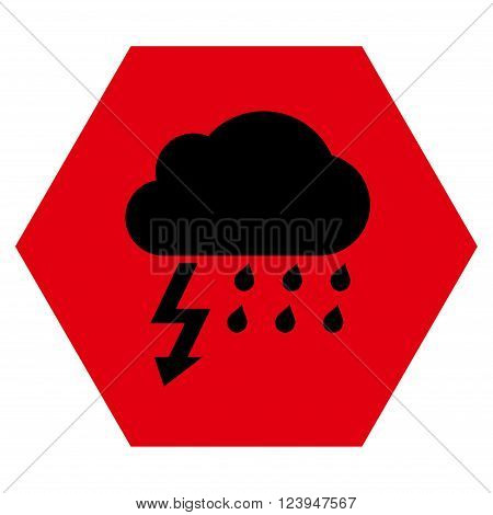 Thunderstorm vector icon symbol. Image style is bicolor flat thunderstorm pictogram symbol drawn on a hexagon with intensive red and black colors.