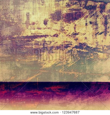Oldest vintage background in grunge style. Ancient texture with different color patterns: yellow (beige); brown; purple (violet); pink; gray
