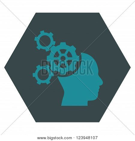Brain Mechanics vector symbol. Image style is bicolor flat brain mechanics iconic symbol drawn on a hexagon with soft blue colors.