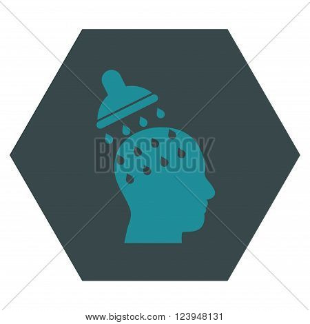 Brain Washing vector icon. Image style is bicolor flat brain washing pictogram symbol drawn on a hexagon with soft blue colors.