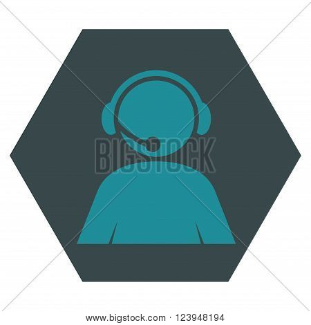 Call Center Operator vector pictogram. Image style is bicolor flat call center operator pictogram symbol drawn on a hexagon with soft blue colors.