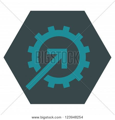 Cog Integration vector symbol. Image style is bicolor flat cog integration iconic symbol drawn on a hexagon with soft blue colors.