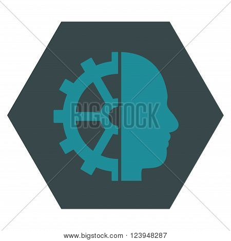 Cyborg Gear vector pictogram. Image style is bicolor flat cyborg gear pictogram symbol drawn on a hexagon with soft blue colors.