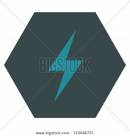 Electricity vector icon symbol. Image style is bicolor flat electricity icon symbol drawn on a hexagon with soft blue colors.