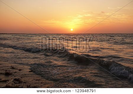 Picture of sunrise on Beach at Maya Rivera in Mexico.