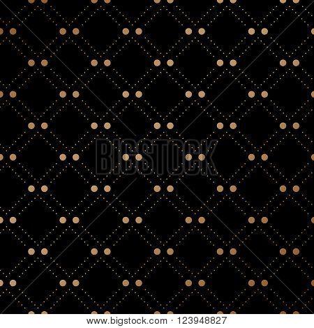 Gold veil seamless pattern on black background. Vector Illustration