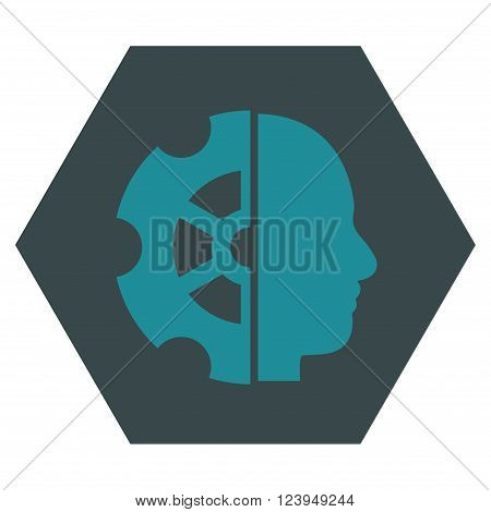 Intellect vector icon symbol. Image style is bicolor flat intellect pictogram symbol drawn on a hexagon with soft blue colors.