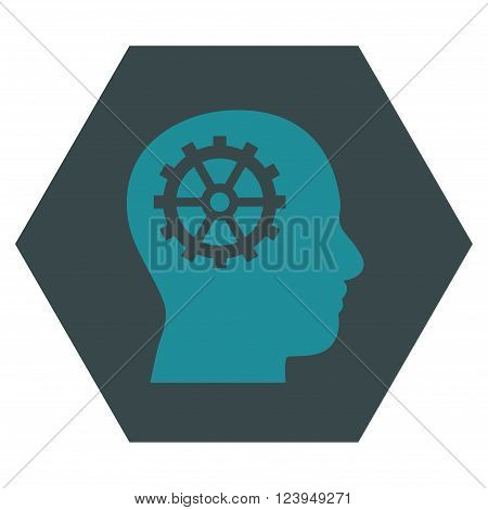 Intellect vector icon. Image style is bicolor flat intellect pictogram symbol drawn on a hexagon with soft blue colors.