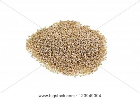 Heap of quinoa a species of the goosefoot genus (Chenopodium quinoa) a grain crop grown primarily for its edible seeds