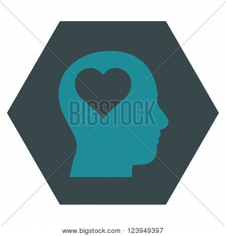 Lover Head vector icon. Image style is bicolor flat lover head icon symbol drawn on a hexagon with soft blue colors.