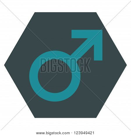 Male Symbol vector pictogram. Image style is bicolor flat male symbol iconic symbol drawn on a hexagon with soft blue colors.