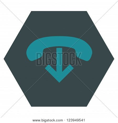 Phone Hang Up vector symbol. Image style is bicolor flat phone hang up pictogram symbol drawn on a hexagon with soft blue colors.