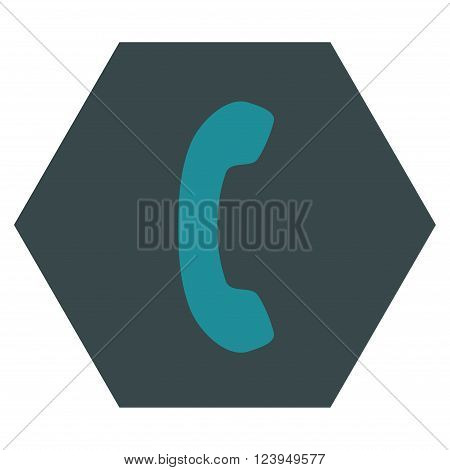 Phone Receiver vector icon. Image style is bicolor flat phone receiver icon symbol drawn on a hexagon with soft blue colors.