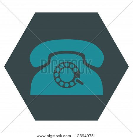 Pulse Phone vector pictogram. Image style is bicolor flat pulse phone icon symbol drawn on a hexagon with soft blue colors.