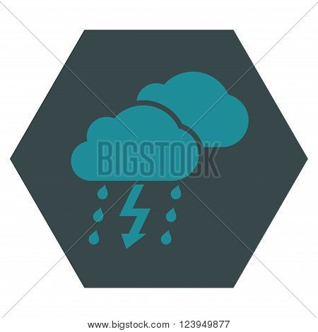 Thunderstorm vector icon symbol. Image style is bicolor flat thunderstorm pictogram symbol drawn on a hexagon with soft blue colors.