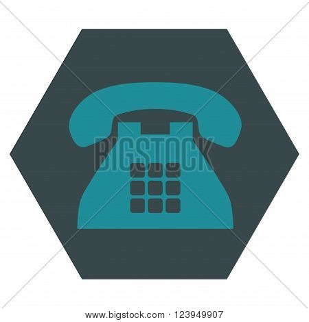 Tone Phone vector pictogram. Image style is bicolor flat tone phone icon symbol drawn on a hexagon with soft blue colors.