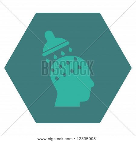 Brain Washing vector icon symbol. Image style is bicolor flat brain washing pictogram symbol drawn on a hexagon with cobalt and cyan colors.