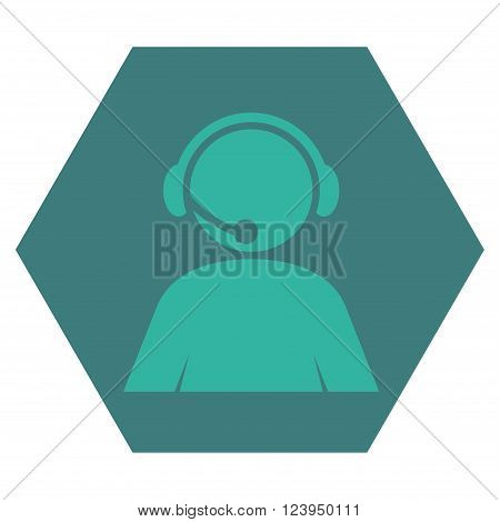Call Center Operator vector icon symbol. Image style is bicolor flat call center operator icon symbol drawn on a hexagon with cobalt and cyan colors.