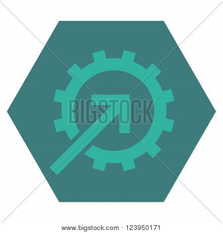 Cog Integration vector symbol. Image style is bicolor flat cog integration pictogram symbol drawn on a hexagon with cobalt and cyan colors.