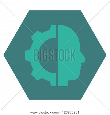 Cyborg Gear vector icon. Image style is bicolor flat cyborg gear iconic symbol drawn on a hexagon with cobalt and cyan colors.