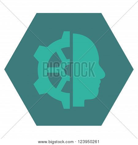 Cyborg Gear vector icon symbol. Image style is bicolor flat cyborg gear icon symbol drawn on a hexagon with cobalt and cyan colors.