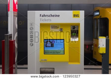 Berlin, Germany - march 30, 2016:  BVG ticket vending machine in metro station in berlin, germany.