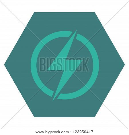 Electricity vector icon. Image style is bicolor flat electricity icon symbol drawn on a hexagon with cobalt and cyan colors.