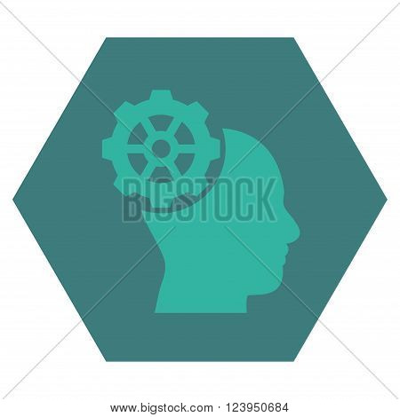 Head Gear vector icon. Image style is bicolor flat head gear pictogram symbol drawn on a hexagon with cobalt and cyan colors.