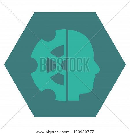 Intellect vector symbol. Image style is bicolor flat intellect pictogram symbol drawn on a hexagon with cobalt and cyan colors.
