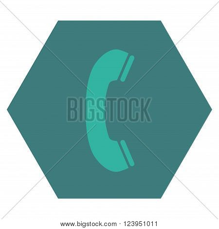 Phone Receiver vector icon symbol. Image style is bicolor flat phone receiver iconic symbol drawn on a hexagon with cobalt and cyan colors.