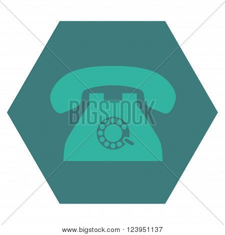 Pulse Phone vector pictogram. Image style is bicolor flat pulse phone pictogram symbol drawn on a hexagon with cobalt and cyan colors.
