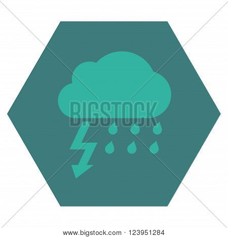 Thunderstorm vector icon symbol. Image style is bicolor flat thunderstorm iconic symbol drawn on a hexagon with cobalt and cyan colors.