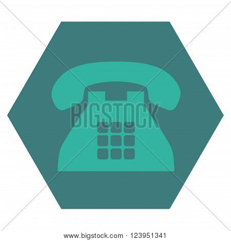Tone Phone vector pictogram. Image style is bicolor flat tone phone iconic symbol drawn on a hexagon with cobalt and cyan colors.