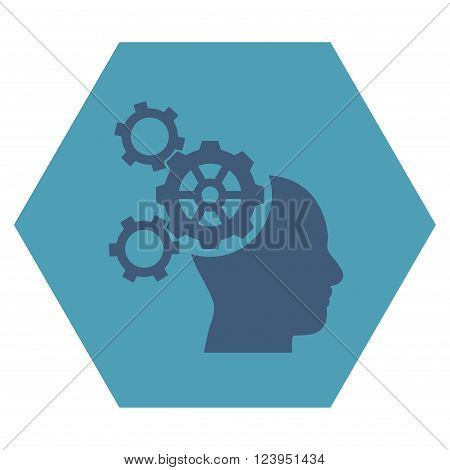 Brain Mechanics vector pictogram. Image style is bicolor flat brain mechanics pictogram symbol drawn on a hexagon with cyan and blue colors.