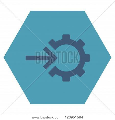 Cog Integration vector pictogram. Image style is bicolor flat cog integration iconic symbol drawn on a hexagon with cyan and blue colors.