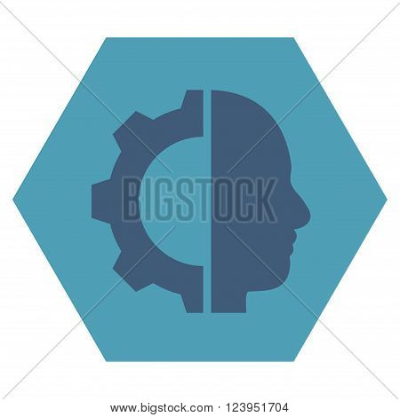 Cyborg Gear vector symbol. Image style is bicolor flat cyborg gear pictogram symbol drawn on a hexagon with cyan and blue colors.