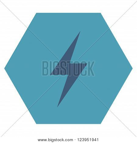Electricity vector pictogram. Image style is bicolor flat electricity icon symbol drawn on a hexagon with cyan and blue colors.