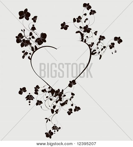 Heart with beautiful orchid flowers