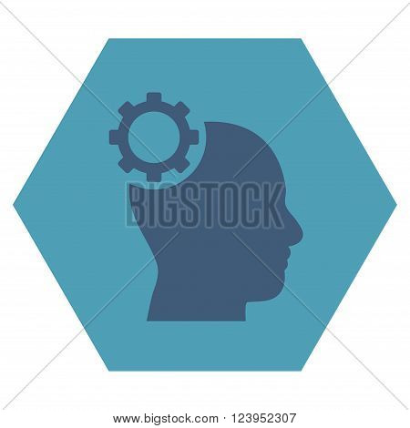 Intellect Gear vector pictogram. Image style is bicolor flat intellect gear iconic symbol drawn on a hexagon with cyan and blue colors.