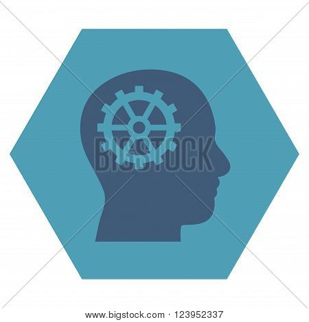 Intellect vector pictogram. Image style is bicolor flat intellect iconic symbol drawn on a hexagon with cyan and blue colors.
