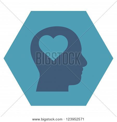 Lover Head vector icon symbol. Image style is bicolor flat lover head icon symbol drawn on a hexagon with cyan and blue colors.