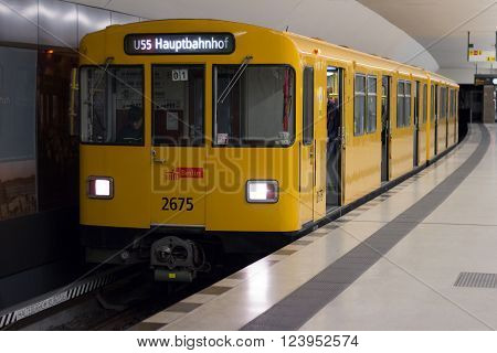 Berlin, Germany - march 30, 2016: Underground train (U-Bahn) at train station Brandenburger Tor (Brandenburg Gate) in Berlin, Germany