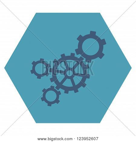 Mechanism vector icon symbol. Image style is bicolor flat mechanism iconic symbol drawn on a hexagon with cyan and blue colors.