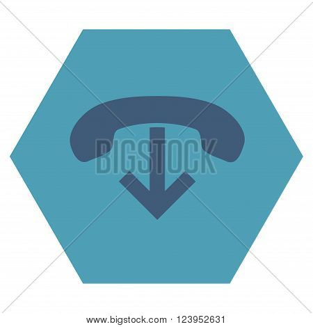 Phone Hang Up vector icon symbol. Image style is bicolor flat phone hang up pictogram symbol drawn on a hexagon with cyan and blue colors.