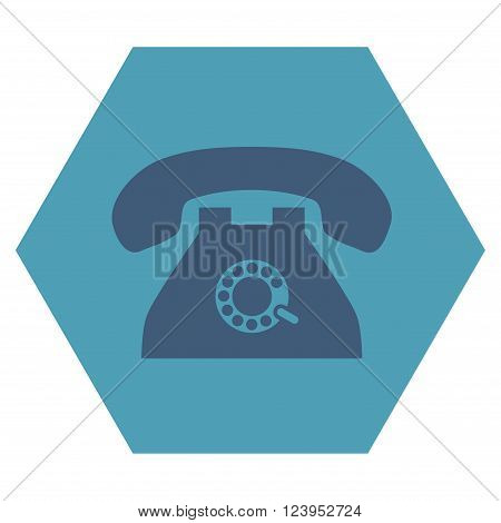 Pulse Phone vector icon symbol. Image style is bicolor flat pulse phone icon symbol drawn on a hexagon with cyan and blue colors.